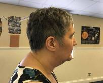 Jane Colcough with her new hair cut