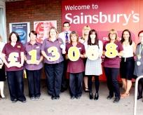 Sainsburys Bramingham Park presentating a cheque for £13,068
