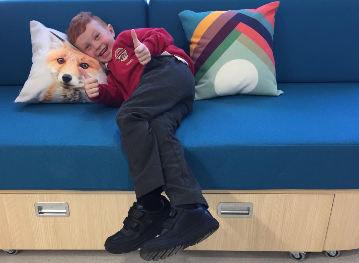 Mason on sofa