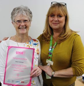 Volunteer Eileen McMahon (left) has been shortlisted for an Unsung Hero Award. She is pictured with Voluntary Services Manager Karen Bush