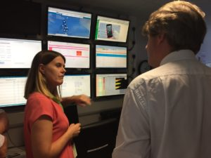 Rebecca and Minister in Control Room