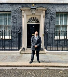 Ravi Mahay outside 10 Downing Street